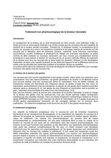 Traitement non pharmacologique de la douleur néonatale - CNRD