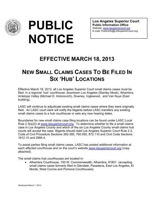Public Notice Superior Court Of California County Of Los Angeles