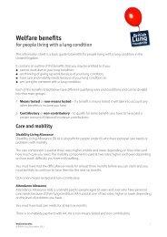 Welfare benefits information sheet - British Lung Foundation