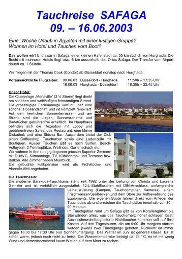 Tauchreise SAFAGA 09. – 16.06.2003 Eine ... - Ivan`s Dive Team