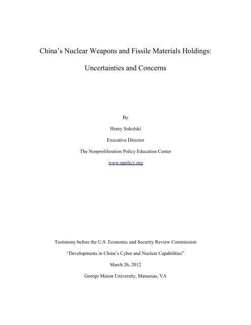 Chinese Nuclear Weapons Materials Holdings: - U.S.-China ...