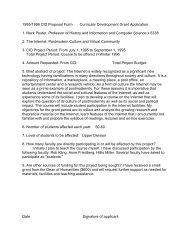1995/1996 CID Proposal Form Curricular Development Grant ...