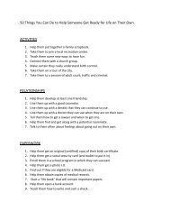 50 Things You Can Do to Help Someone Get Ready for Life on Their ...