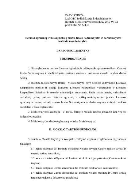 Mokslo tarybos reglamentas - Sodininkystės ir daržininkystės institutas