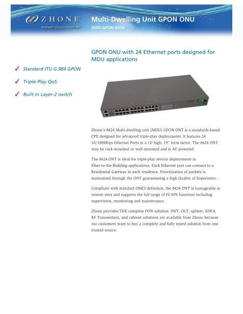 Download ZNID-GPON-8424 Datasheet