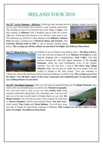 IRELAND TOUR 2010 - Manasquan Elks Lodge # 2534