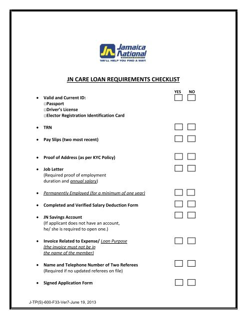 JN CARE LOAN REQUIREMENTS CHECKLIST