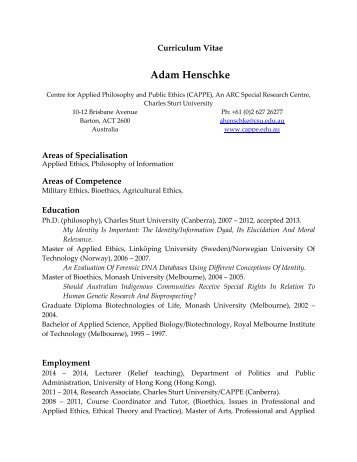 View my cv (.pdf) - CAPPE. Centre For Applied Philosophy and ...