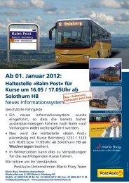 Ab 01. Januar 2012: Haltestelle Â«Balm Post - Postauto Flury