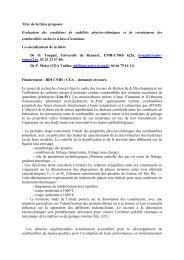 Titre de la thèse proposée - Institut des Sciences Chimiques de ...
