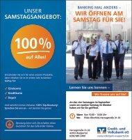 Wir öffnen Am SAmSTAG für Sie! - Volksbank
