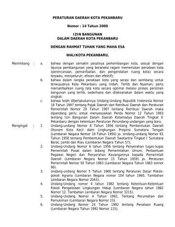 PERATURAN DAERAH KOTA PEKANBARU Nomor - Mahkamah ...