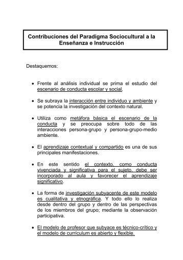 Contribuciones del Paradigma Sociocultural a la ... - Página principal