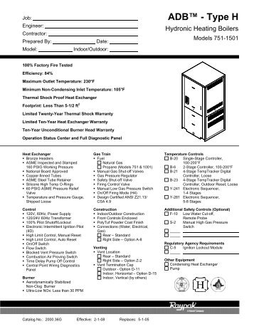 Raypak B6000 Boiler Management System : description