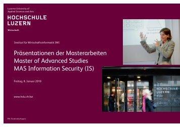 Präsentationen der Masterarbeiten Master of Advanced ... - SGRP