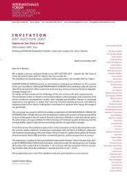 invitation art auction 2007 - INTERNATIONALES FORUM