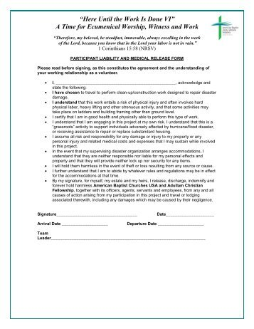 Liability and Medical Release Form