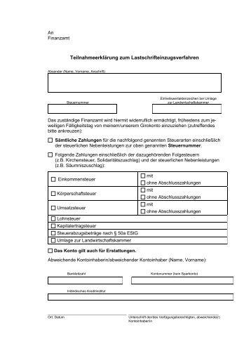 Teilnahmeerklärung zum Lastschrifteinzugsverfahren