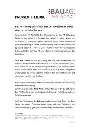 Bau AG-Stiftung unterstützt auch 2013 Projekte im sportlichen und ...