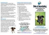 Responsible Dog Ownership Information - Shire of Mundaring