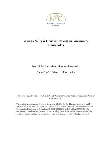 Savings Policy & Household Decision-making in Low-Income ...