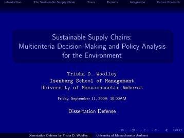 Sustainable Supply Chains - University of Massachusetts Amherst