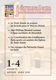 la coordination terre sainte - Patriarcat latin de Jérusalem