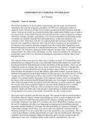 CONFESSIONS OF A MARGINAL PSYCHOLOGIST Kurt Danziger ...