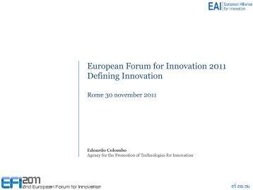 European Forum for Innovation 2011 Defining Innovation - EAI