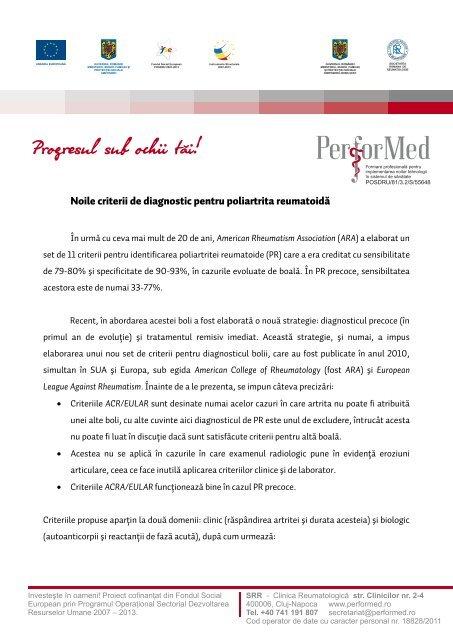 criterii de diagnostic pentru bolile articulare