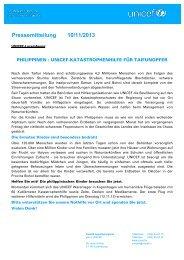 Pressemitteilung 10/11/2013 - Unicef