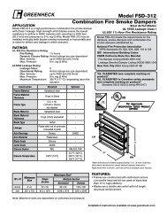Model FsD-312 Combination Fire smoke Dampers - Greenheck
