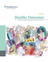 Research Improving Health & Health Care Delivery - HealthPartners