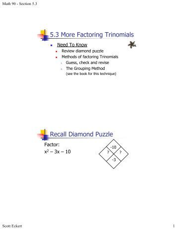 Factor Trinomials Worksheet (pdf) and Answer Key. 25 scaffolded questions