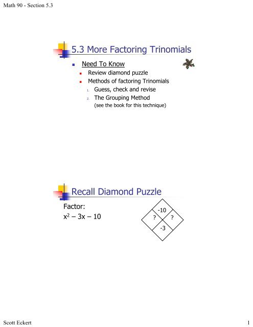 5 3 More Factoring Trinomials Recall Diamond Puzzle