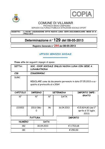 COMUNE DI VILLAMAR Determinazione n° 129 del 08-05-2013