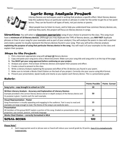 Lyric Song Analysis Project