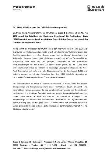130625 Presseinformation Dr Peter Moesle ... - Drees & Sommer