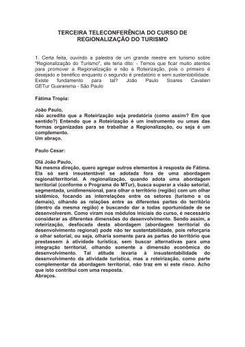 TERCEIRA TELECONFERÊNCIA DO CURSO DE ... - SEaD da UFSC