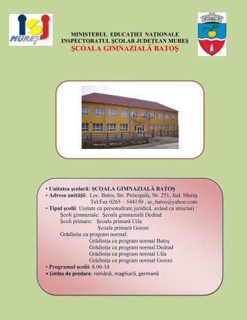 ŞCOALA GIMNAZIALĂ BATOŞ - Inspectoratul Şcolar Judeţean Mureş