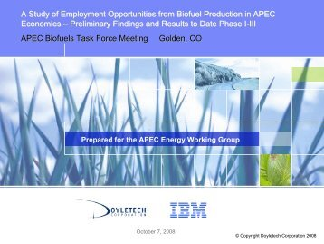 A Study of Employment Opportunities from Biofuel ... - APEC Biofuels