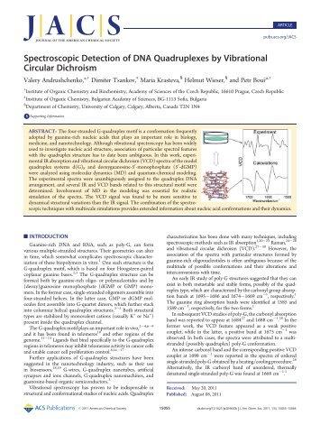 Spectroscopic Detection of DNA Quadruplexes by Vibrational ...