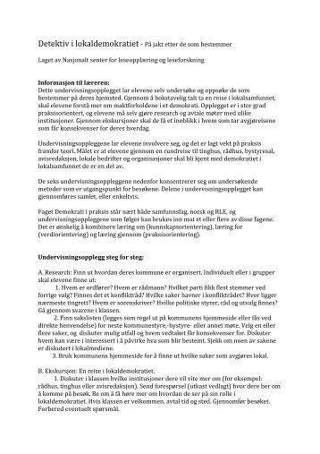 undervisningsopplegget som pdf - Lesesenteret
