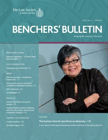 Benchers Bulletin, Spring 2012 - The Law Society of British Columbia