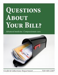 Questions About Your Bill? - Alice Hyde Medical Center