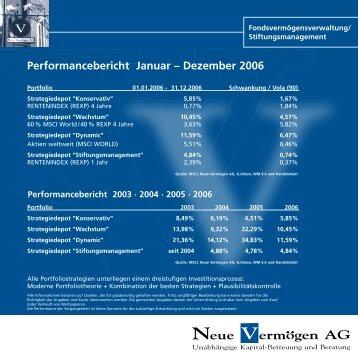 Performancebericht Januar – Dezember 2006 - pross consult