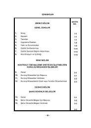 - IX - İÇİNDEKİLER BİRİNCİ BÖLÜM GENEL ESASLAR 1. Amaç 2 ...