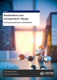 Akademikere som entreprenører i Norge: - Menon - Business ...