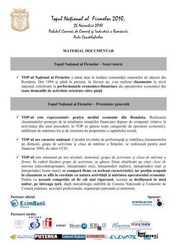 Topul Naţional al Firmelor 2010, - Camera de Comert si Industrie a ...