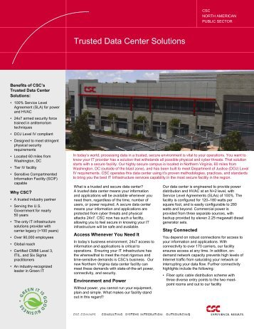 Trusted Data Center Solutions - CSC